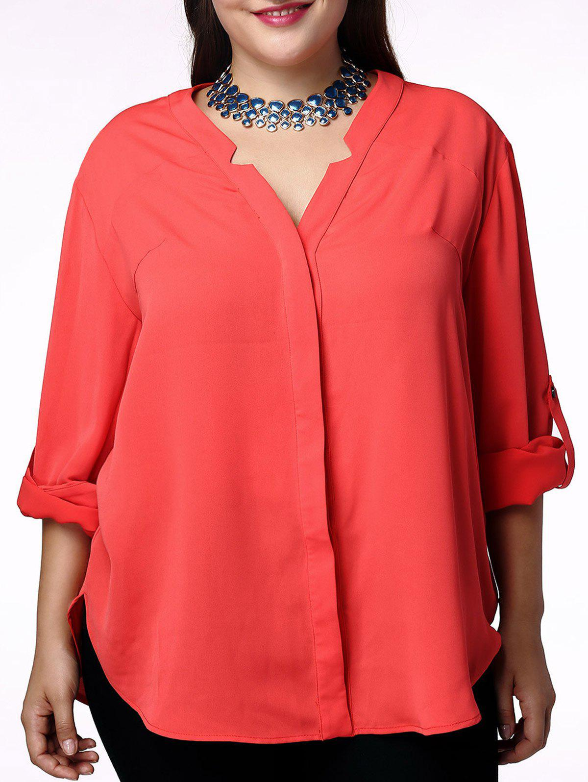 Elegant Solid Color V-Neck 3/4 Sleeve Plus Size Blouse For Women - JACINTH 4XL