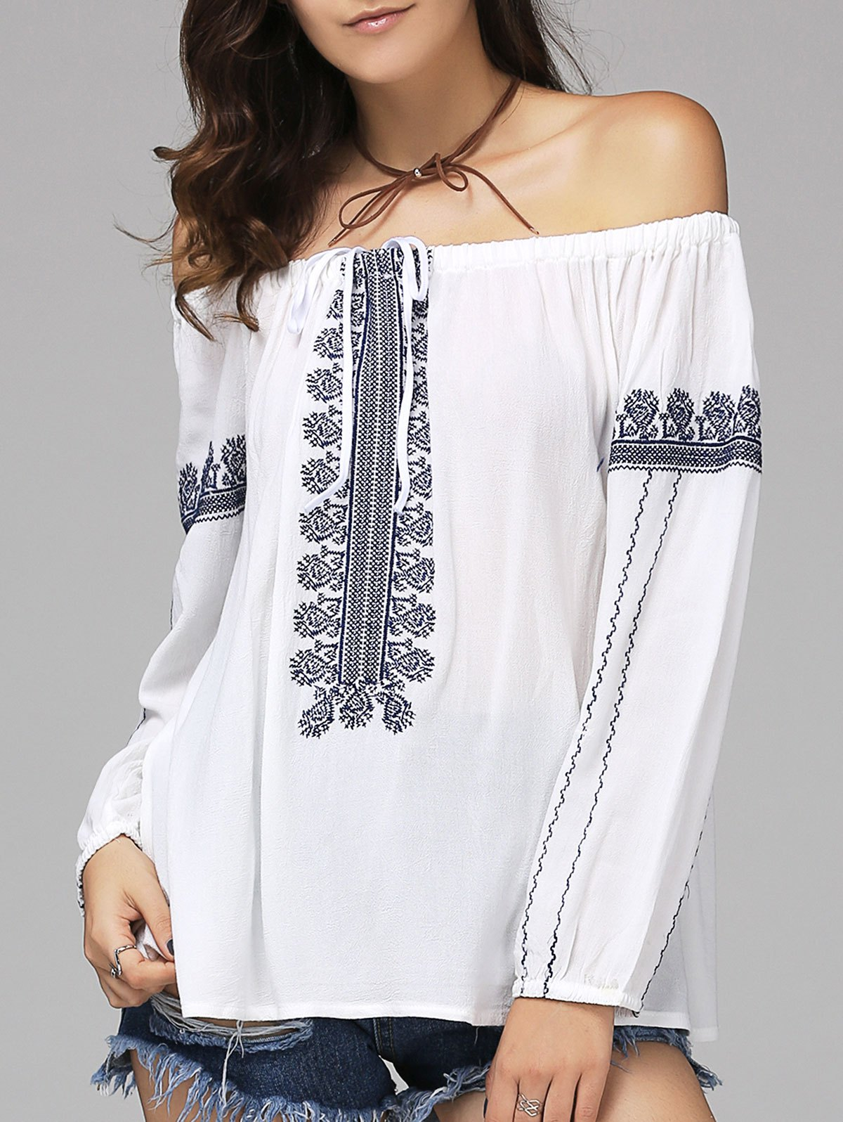 Ethnic Style Women's Off The Shoulder Long Sleeve Blouse - WHITE L