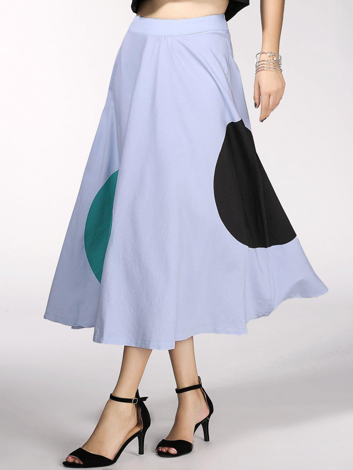Vintage Womens High Waist Ruffled Long SkirtWomen<br><br><br>Size: M<br>Color: LIGHT BLUE