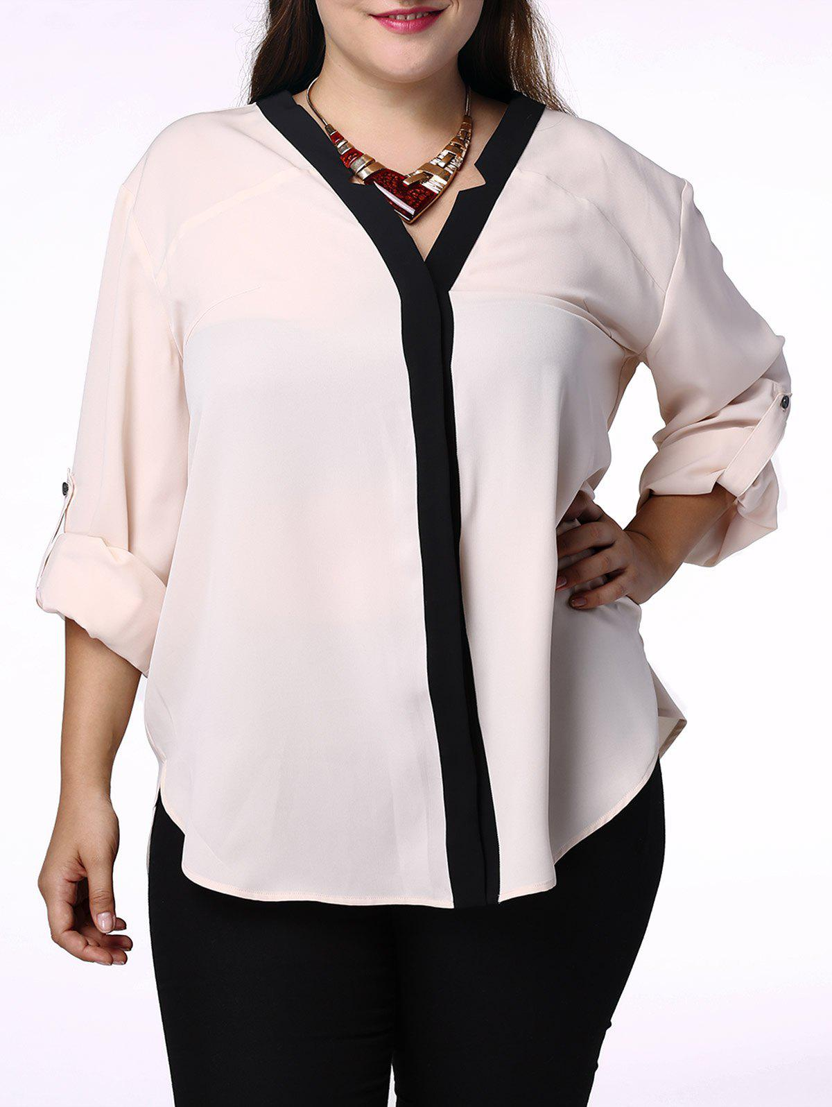 Elegant Hit Color V-Neck 3/4 Sleeve Plus Size Blouse For Women - APRICOT XL