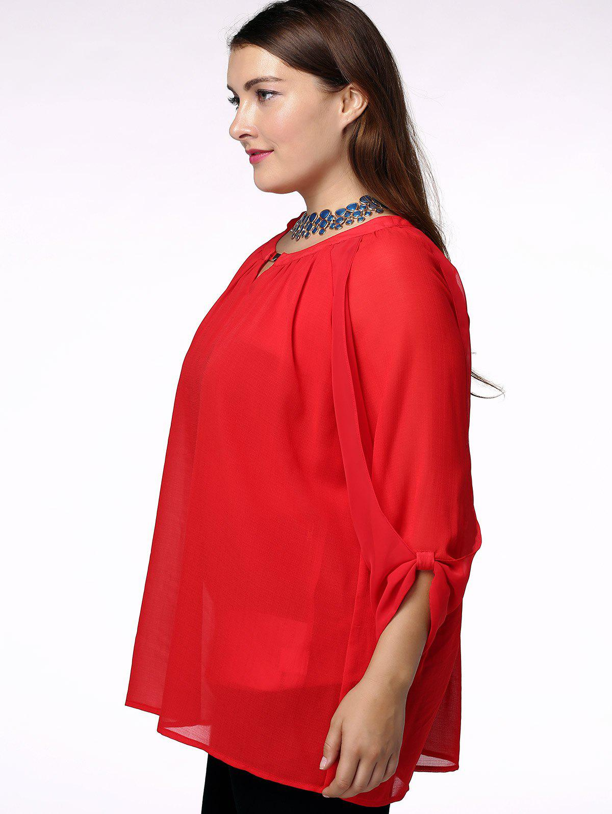 Fashionable Scoop Neck 3/4 Sleeve Pleated Red Blouse For Women - RED XL