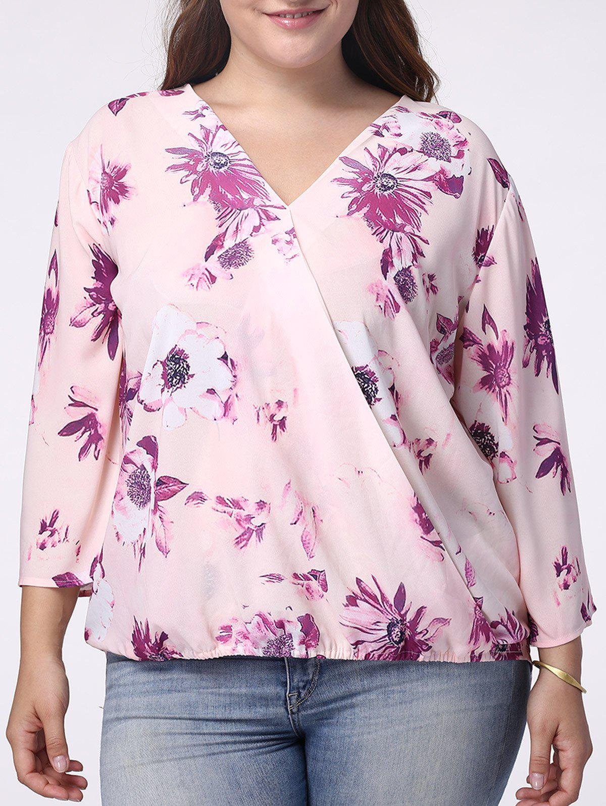 Sweet V-Neck 3/4 Sleeve Floral Print Wrapped Blouse For Women - LIGHT PURPLE 5XL