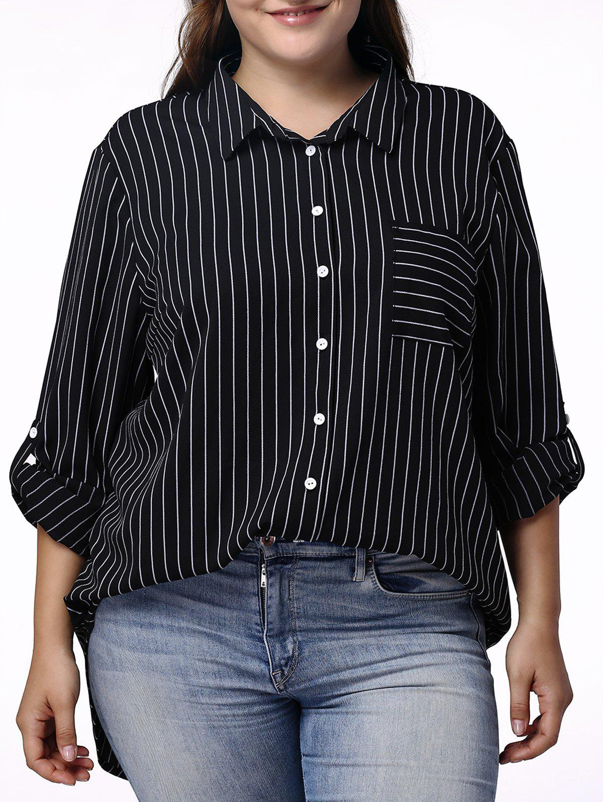 Casual Pinstriped 3/4 Sleeve Plus Size Shirt For Women - BLACK XL