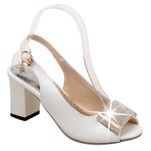 Trendy Slingback and Rhinestone Design Women's Peep Toe Shoes - WHITE 38