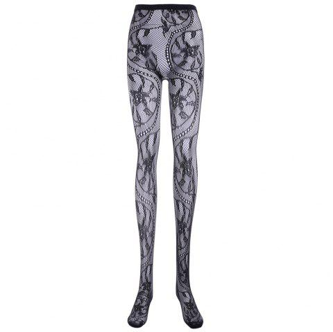 Sexy Leaf and Polka Dot Jacquard Hollow Out Mesh Women's Pantyhose - BLACK