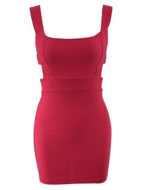 Women's Cotton Low-Cut Packet Buttock Openwork Charming Dress - RED ONE SIZE