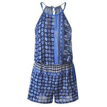 Bohemian Lace-Up Abstract Printing Drawstring Backless Romper For Women