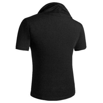 Heaps Boutons de col ornementé T-shirt de Shorts Sleeve Men - Noir M
