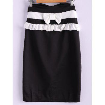 Sweet Style Polyester Bow Tie Flounce Edge Women's Skirt