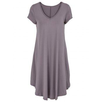 V-Neck Ruffled Short Sleeve Dress