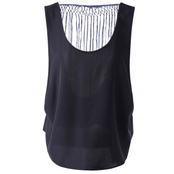 Chic Tassel Hollow Out Top For Women - BLACK BLACK