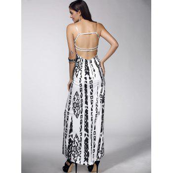 Abstract Print Open Back Dress - WHITE XL