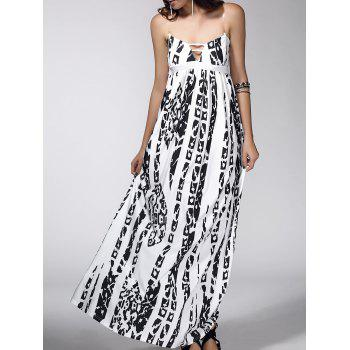 Abstract Print Open Back Dress