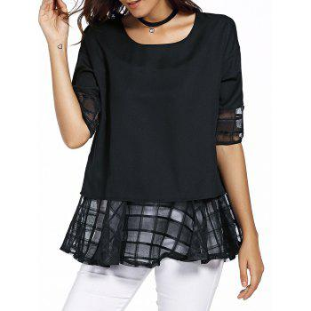 Sweet Half Sleeve Round Neck Bowknot Design Spliced Chiffon Blouse For Women