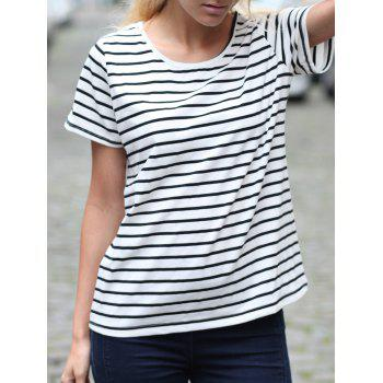 Casual Striped Cuffed Sleeve Pullover T-Shirt For Women