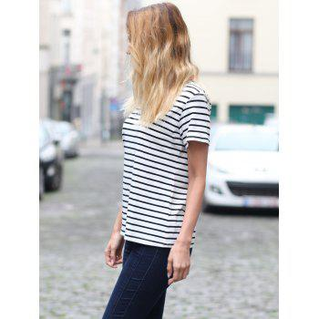 Casual Striped Cuffed Sleeve Pullover T-Shirt For Women - STRIPE S