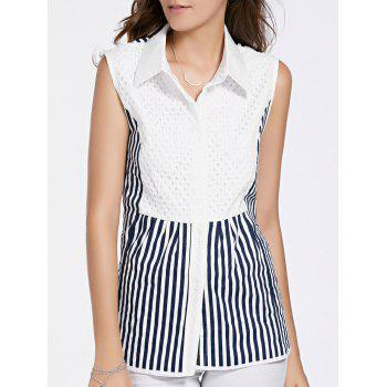 Stylish Women's Shirt Collar Sleeveless Striped Shirt