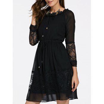 Elegant Women's Jewel Neck Long Sleeves Lace Up Dress