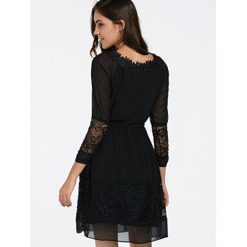 Elegant Women's Jewel Neck Long Sleeves Lace Up Dress - BLACK S