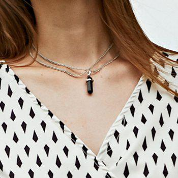 Bullet Pendant Two Layered Link Chain Necklace