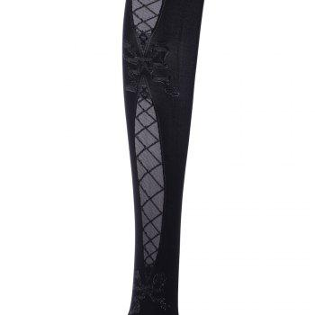 Pair of Chic Bowknot and Interlace Pattern and Lace Design Women's Stockings -  BLACK