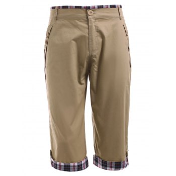 Crimping Design Zipper Fly Checked Splicing Men's Capri Pants