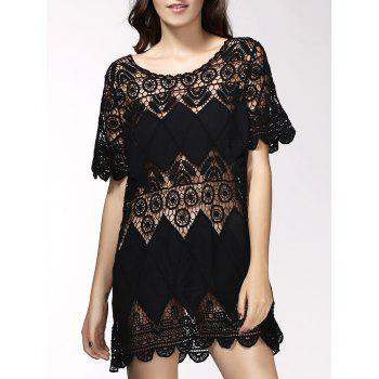 Alluring Hollow Out Short Sleeve Women's Cover Up Dress