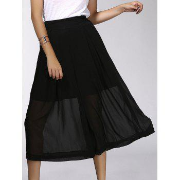 Fashionable Elastic Waist Chiffon Solid Color Women's Wide Leg Pants