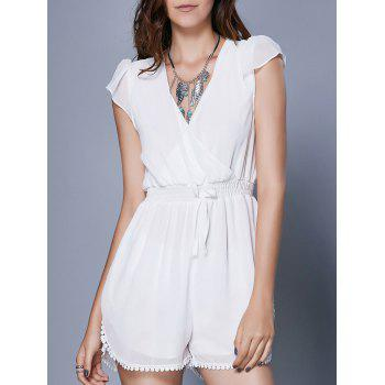 Alluring Women's Short Sleeve Plunging Neck Romper
