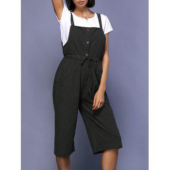 Chic Short Sleeve Round Neck White T-Shirt + Drawstring High-Waisted Overalls Women's Twinset