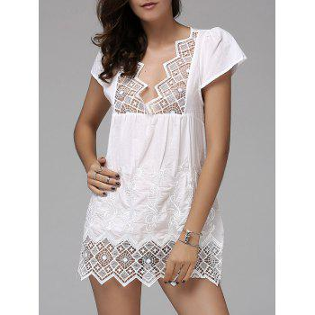 Fashionable Women's Plunging Neck Short Sleeve Crochet Top