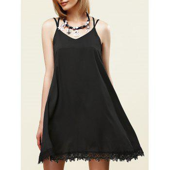 Stylish Women's Strappy Lace Embellished Dress