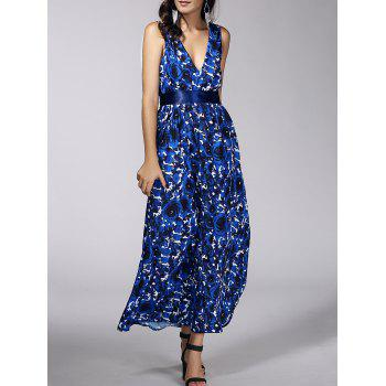 Fashionable Women's Plunging Neck Floral Print Belted Dress