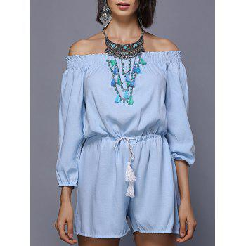 Stylish Women's Off The Shoulder Long Sleeve Drawstring Romper