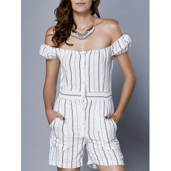 Trendy Off The Shoulder Striped Romper For Women