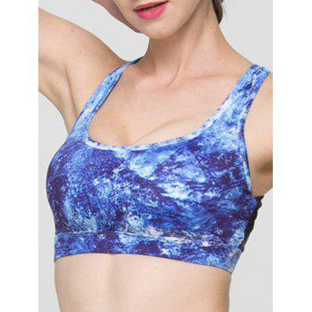 Trendy Print Hollow Out Criss Sport Bra For Women - L L