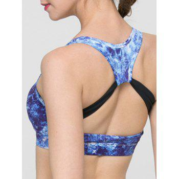 Trendy Print Hollow Out Criss Sport Bra For Women - BRIGHT BLUE S