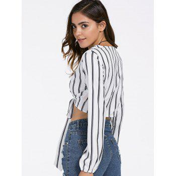 Striped Plunging Neck Strappy Crop Top - WHITE M