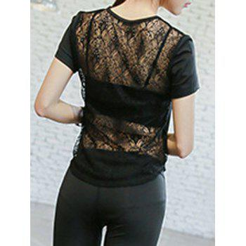 Back Lace Spliced Sports Women's Tee - BLACK S