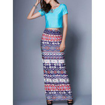 Motif Tribal Skirt and Crop Top Twinset