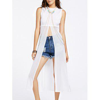 Trendy See-Through Split Spliced Women's Tank Top
