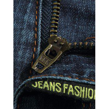 Stylish Straight Leg Bleach Wash Zipper Fly Jeans For Men - DEEP BLUE 33