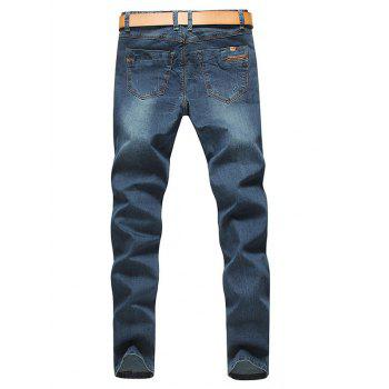 Stylish Straight Leg Bleach Wash Zipper Fly Jeans For Men - DEEP BLUE 31