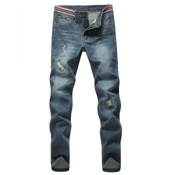 Stylish Straight Leg Bleach Wash Zipper Fly Ripped Jeans For Men