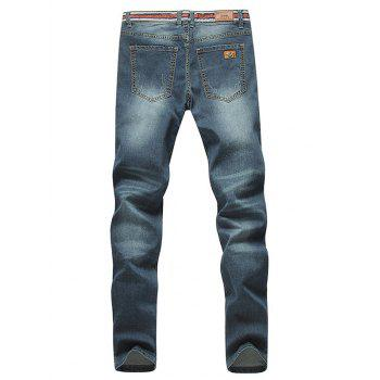 Stylish Straight Leg Bleach Wash Zipper Fly Ripped Jeans For Men - DEEP BLUE 28