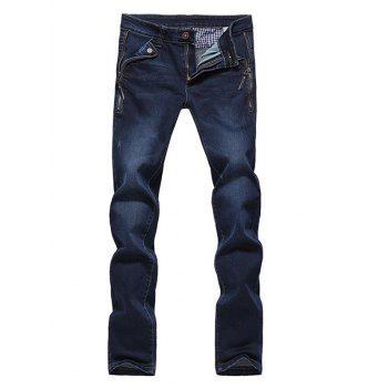 Slim Fit Straight Leg Bleach Wash Side Zip Embellished Jeans For Men