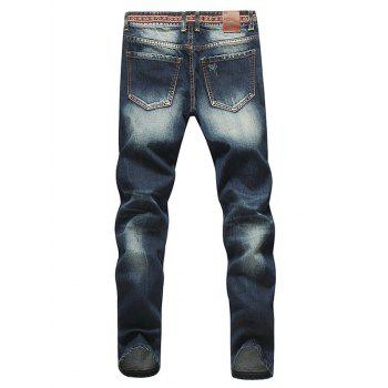 Modish Straight Leg Bleach Wash Zipper Fly Ripped Jeans For Men - DEEP BLUE 33