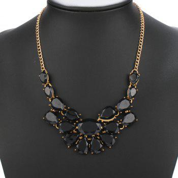Artificial Gem Water Drop Shape Necklace - BLACK