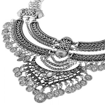 Alloy Rhinestone Coins Necklace - SILVER