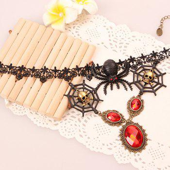 Faux Ruby Skull Spider Hollowed Lace Necklace - COLORMIX
